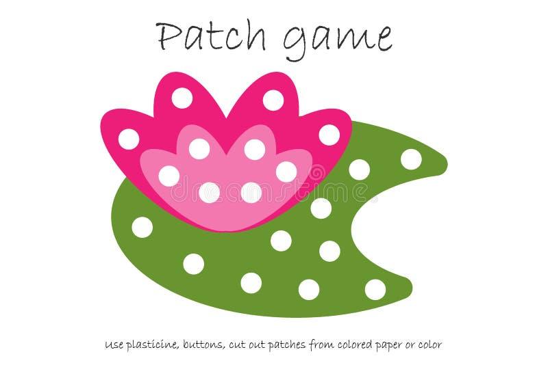 教育补丁比赛开发的孩子的荷花能运动技巧、用途彩色塑泥补丁、按钮、的彩纸或者的颜色 库存例证