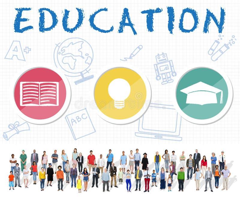 教育词电灯泡帽子书象图表概念 免版税图库摄影