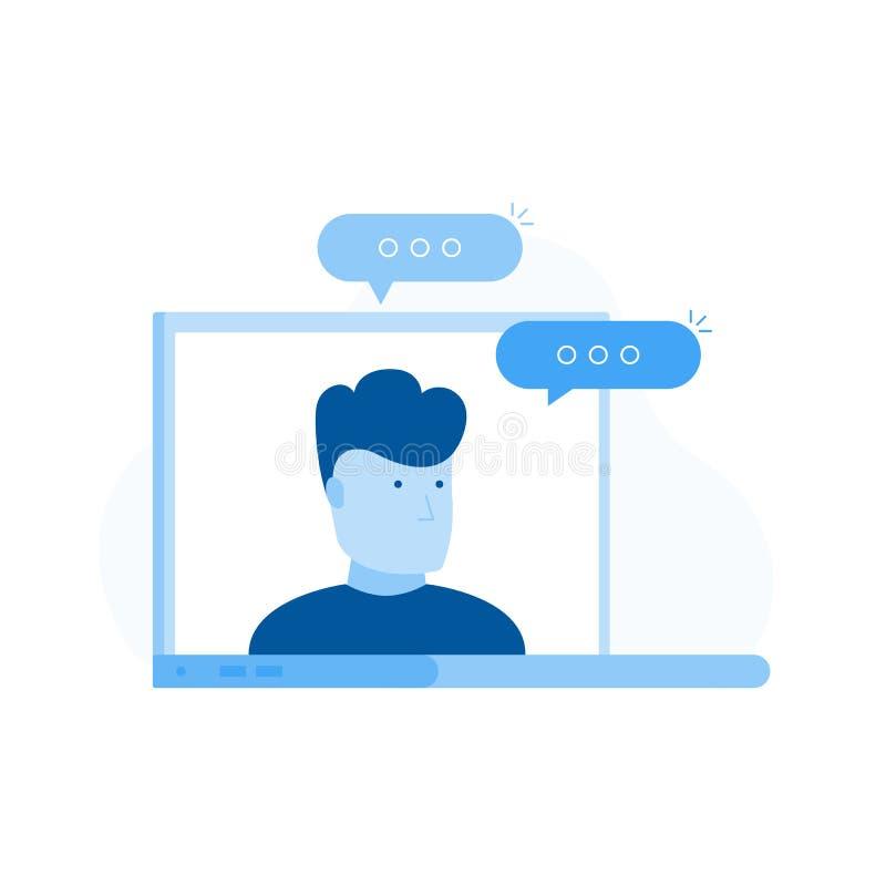 教育资源,网上学习的路线,路线的老师在膝上型计算机屏幕上的 向量例证