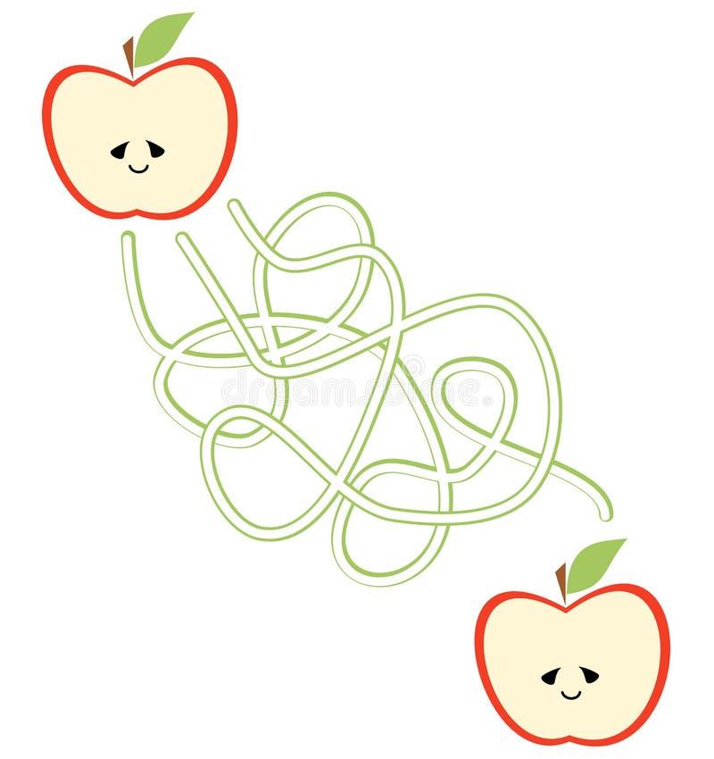 教育道路或迷宫比赛的逗人喜爱的动画片例证学龄前孩子的用苹果 向量例证
