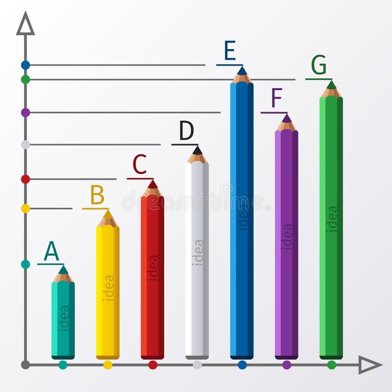 教育铅笔楼梯infographics选择 库存例证