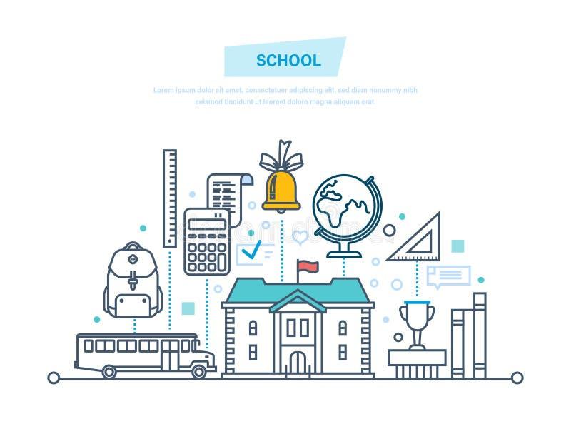 教育,学校,远距离学习,知识,教 孩子,学生的运输 皇族释放例证