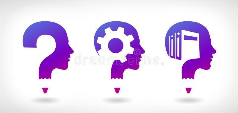 教育,解决问题和了解的传染媒介商标 向量例证