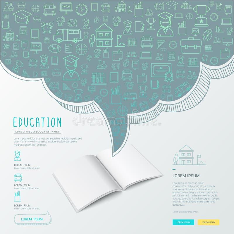 教育infographic与手拉的乱画学校象 皇族释放例证