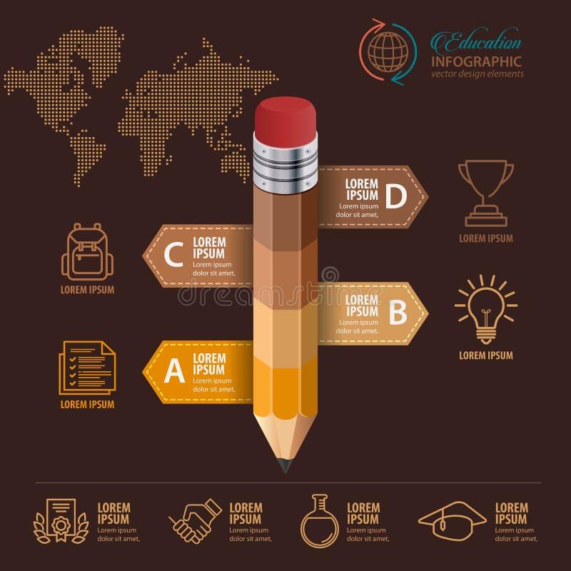 教育Infographic概念 铅笔和泡影讲话与象 皇族释放例证