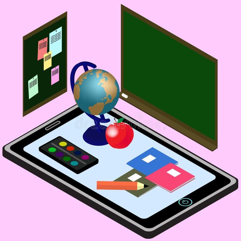 教育Infographic 电子教学的等量例证 库存例证