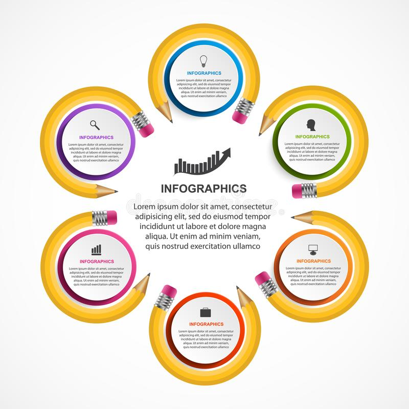 教育Infographics模板 企业介绍或信息横幅的Infographics 库存例证