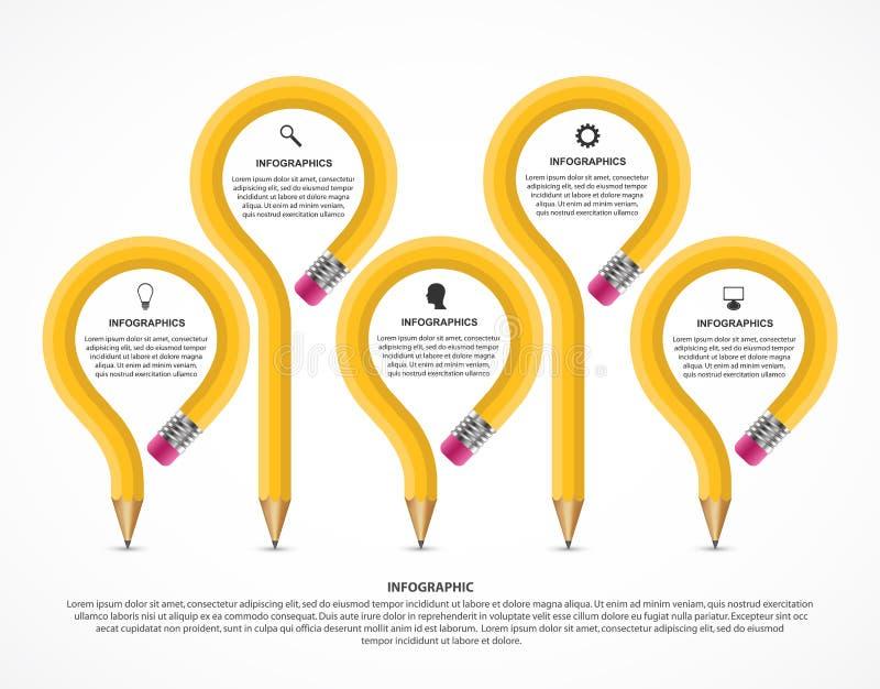 教育Infographics模板 企业介绍或信息横幅的Infographics 皇族释放例证
