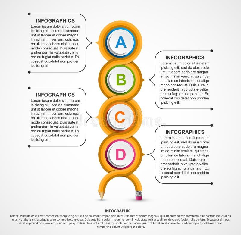 教育Infographics模板 企业介绍或信息横幅的Infographics 向量例证