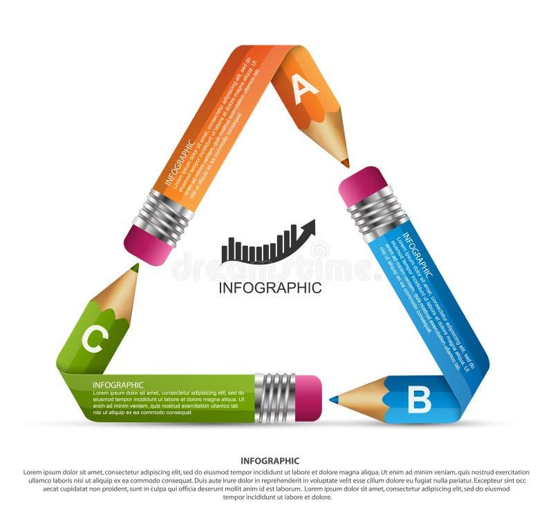 教育Infographics模板 有色的丝带的铅笔 企业介绍或信息横幅的Infographics 库存例证