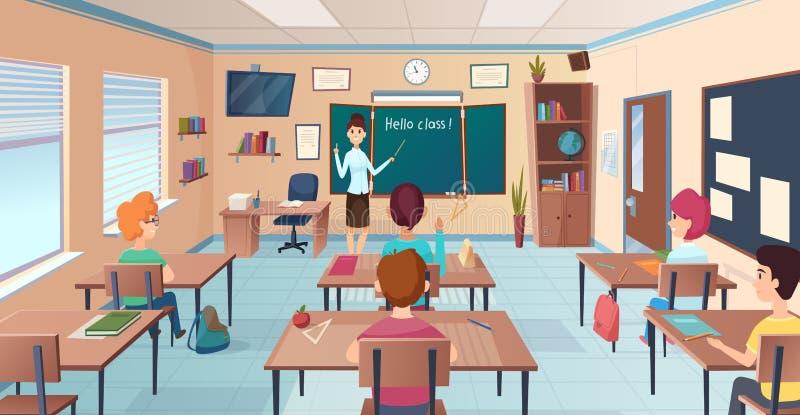 教训在教室 站立和指向孩子的书桌和老师的学生在黑板传染媒介动画片附近学习 皇族释放例证