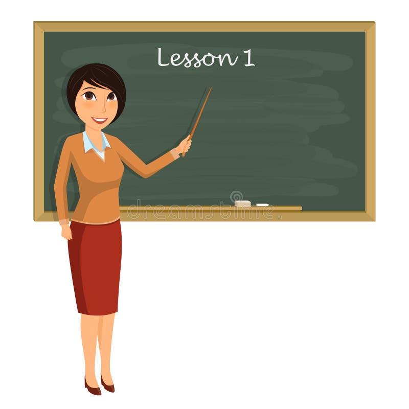 教训的老师在教室 有尖的年轻老师 库存例证