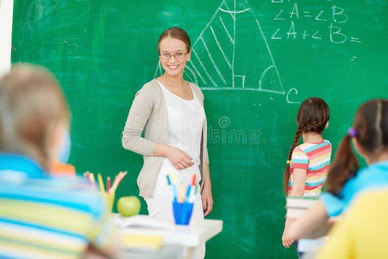 教训的老师 免版税库存图片