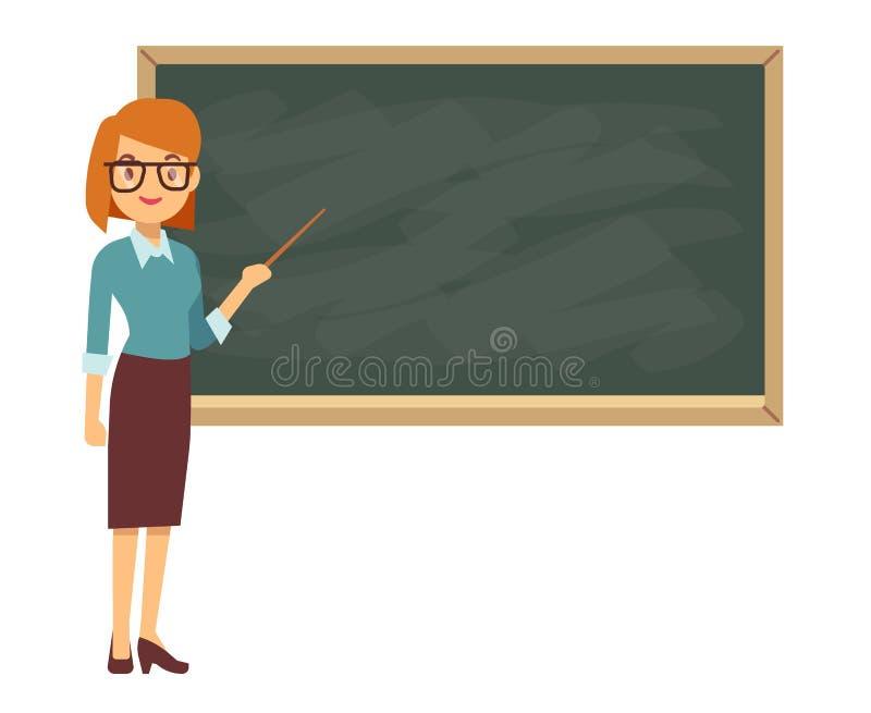 教训的年轻女老师在黑板在教室 库存例证