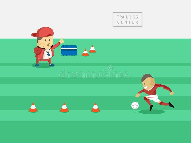 教练训练足球运动员 库存例证