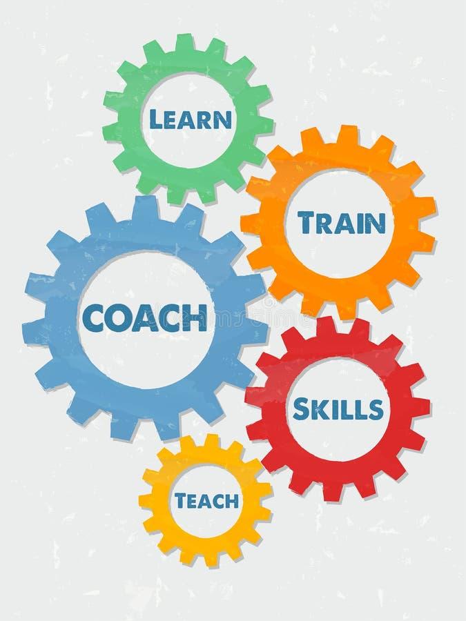 教练,在难看的东西平的设计齿轮学会,训练,技能,教 皇族释放例证