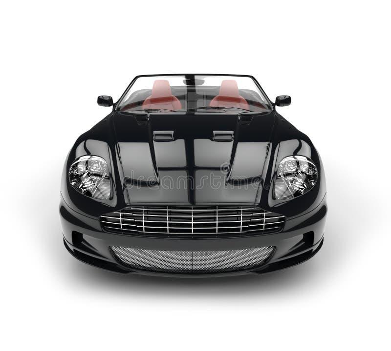 黑敞篷车体育车的正面图极端特写镜头 皇族释放例证