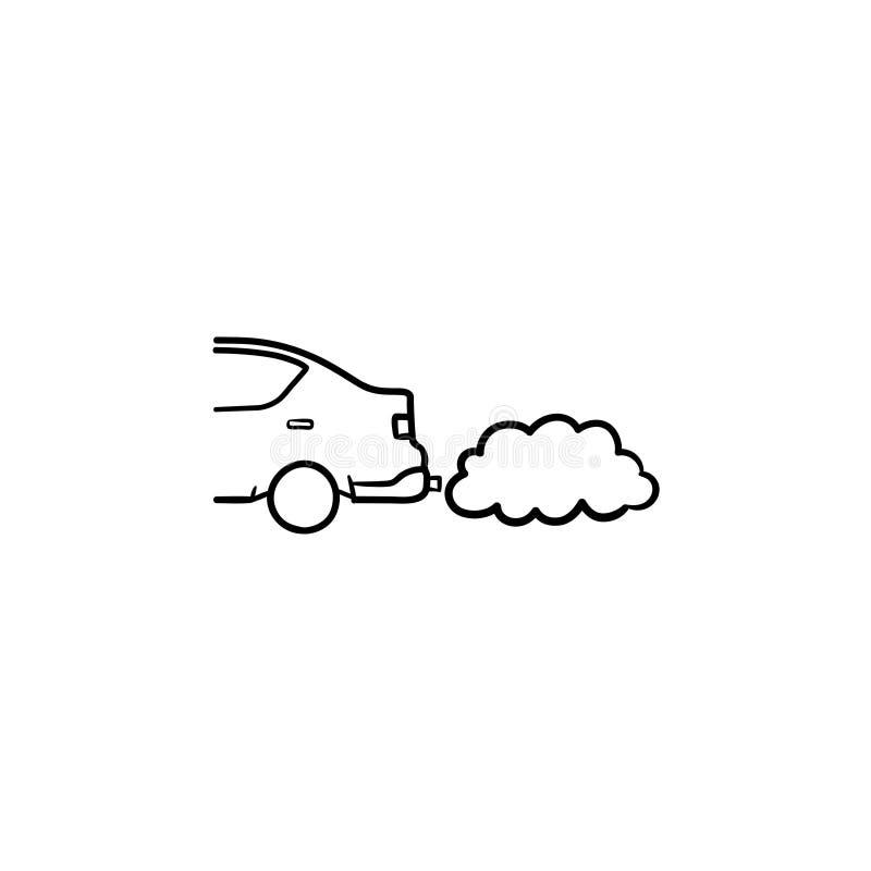 散发排烟手拉的概述乱画象的汽车 库存例证