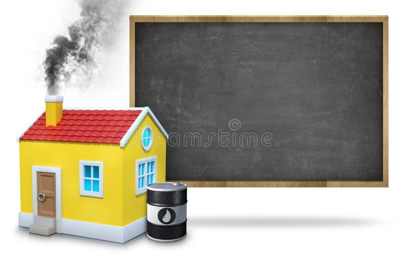 散发烟的议院烟囱由油桶反对黑板 库存照片