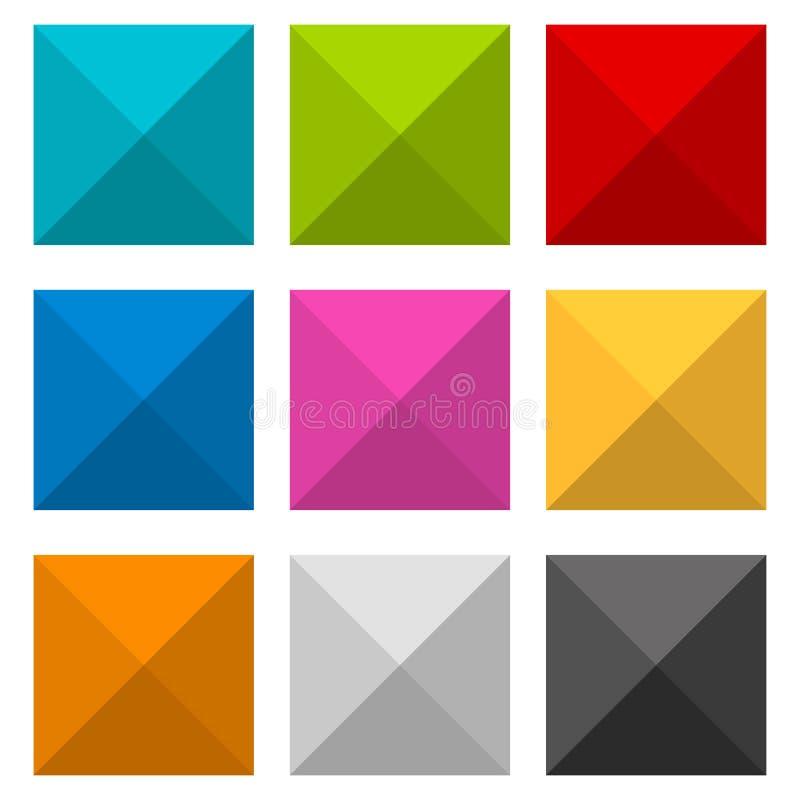 散布的,几何瓦片 套更多颜色 库存例证