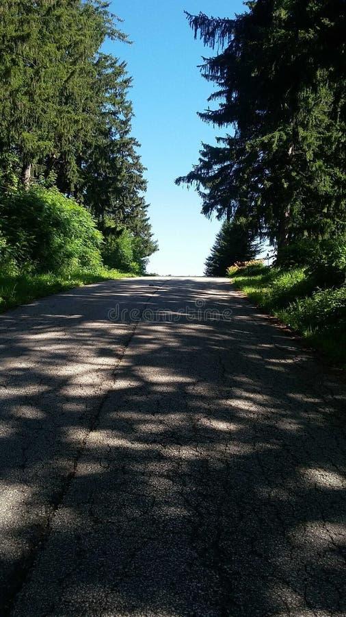 散步在乡下公路下 库存照片