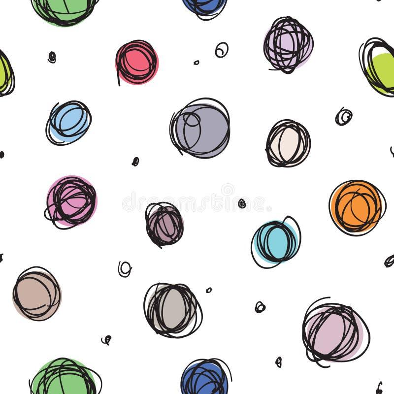 散漫的圈子,任意乱画加点无缝的样式 库存例证