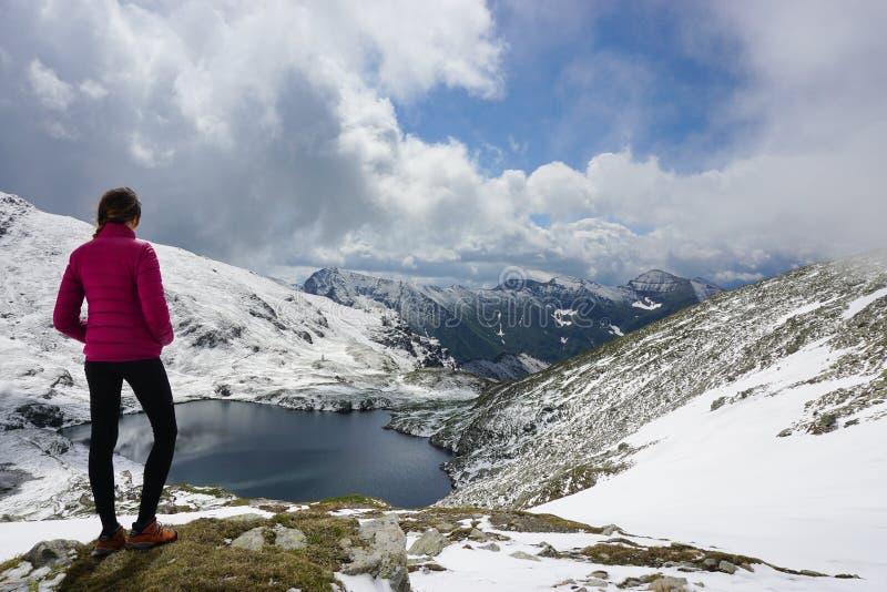 敬佩在山的年轻女人看法 免版税库存图片