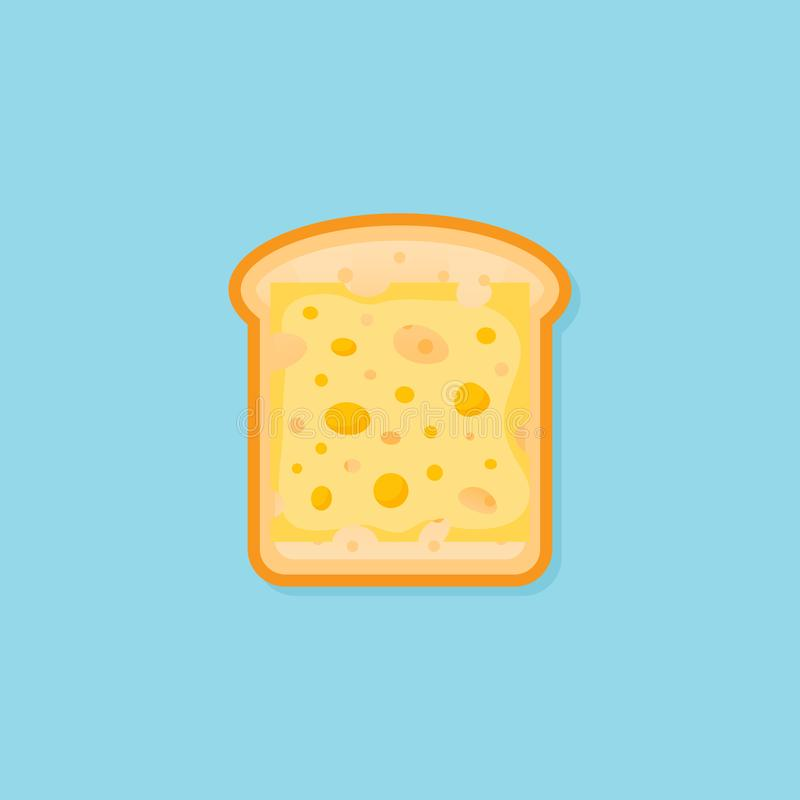敬酒与切片的面包乳酪平的样式象 也corel凹道例证向量 向量例证