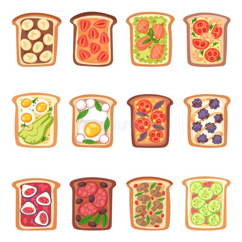 敬酒与面包蔬菜的传染媒介健康敬酒的食物和水果或者蛋快餐早餐例证套的  向量例证