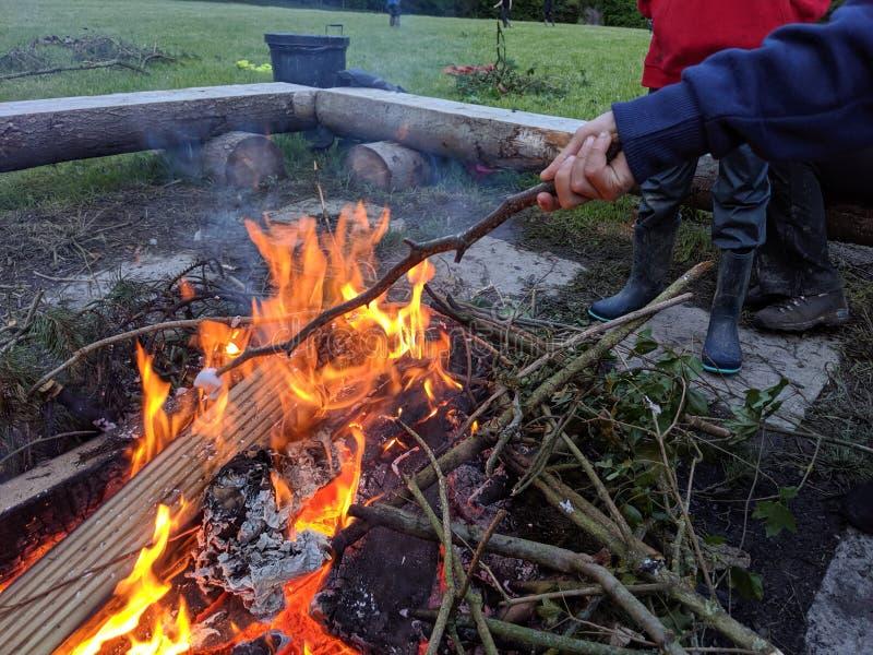 敬酒在一根棍子的末端的一个蛋白软糖在火的 库存照片