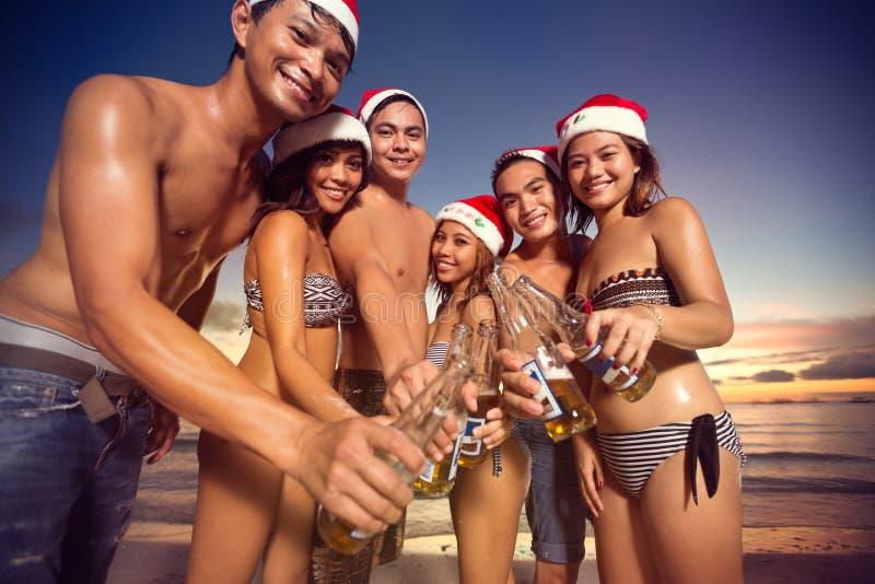 敬酒在圣诞节暑假 免版税库存图片