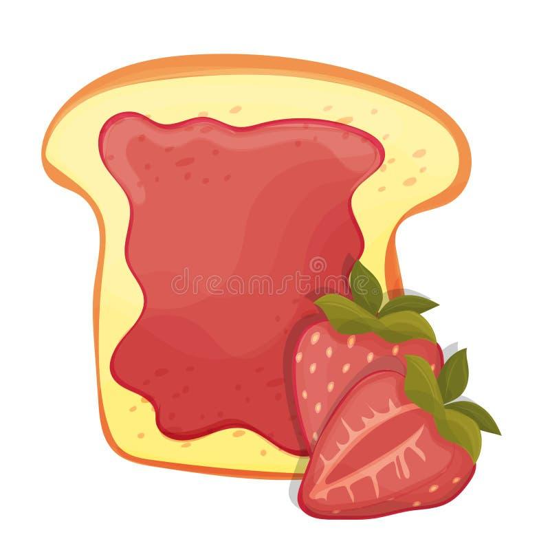 敬酒的面包切片三明治红色草莓酱早餐 库存例证