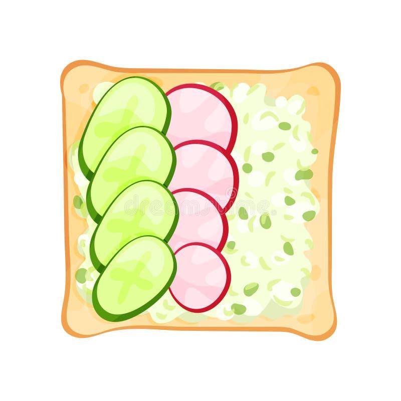 敬酒的面包切片平的传染媒介象用黄瓜、萝卜和乳酪 重点新鲜的三明治有选择性的蔬菜 健康 向量例证