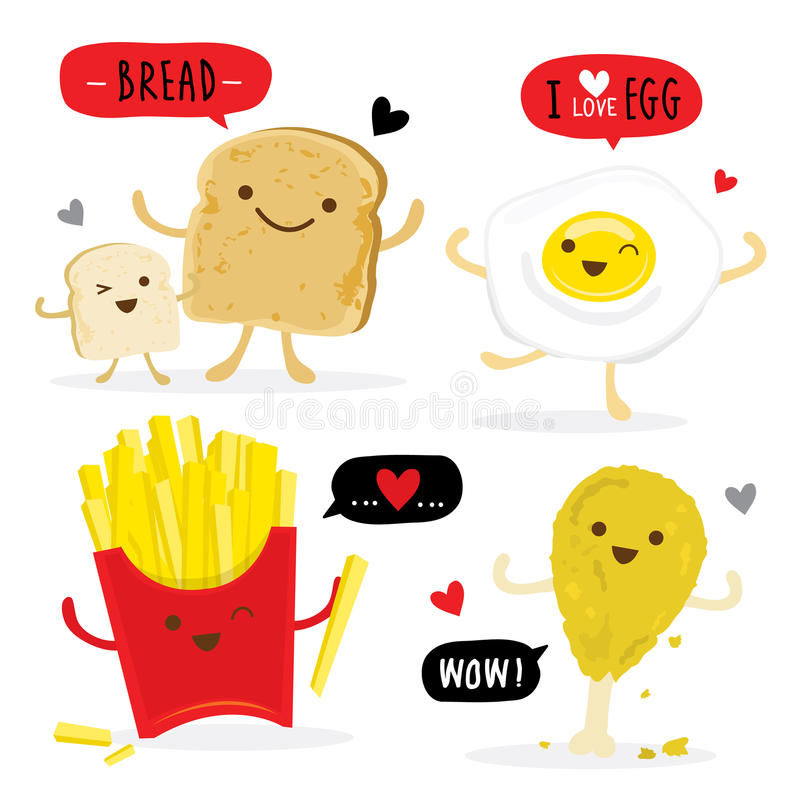 敬酒的面包食物鸡蛋炸薯条动画片逗人喜爱的传染媒介 向量例证