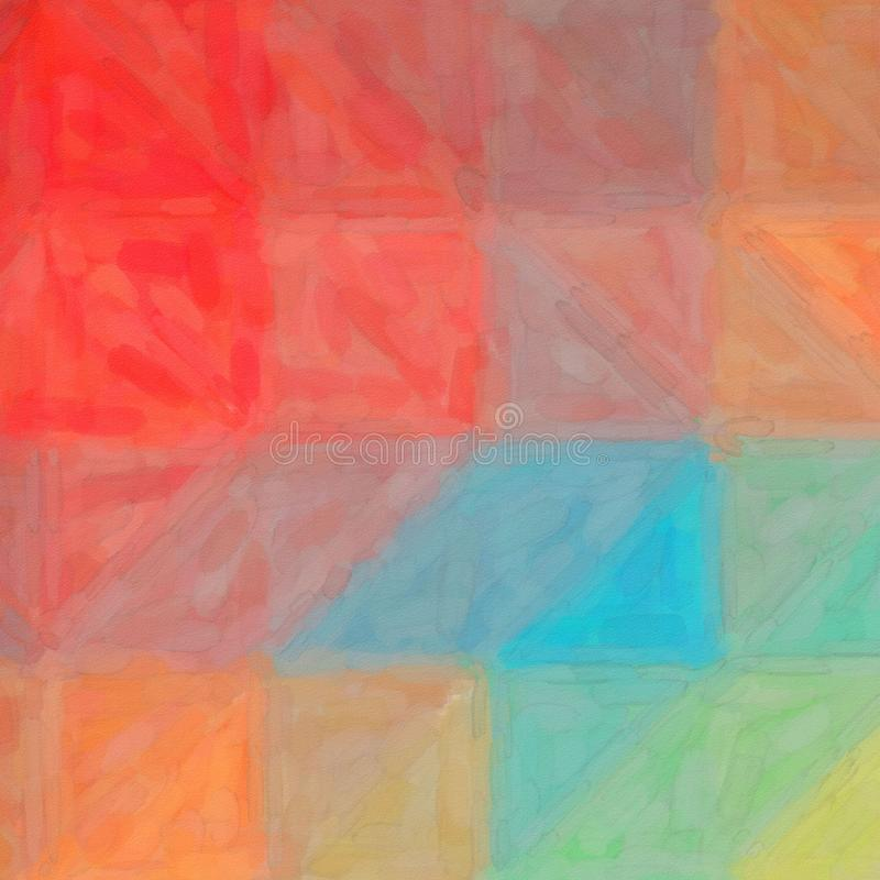 数位引起的方形的红色蓝色和黄色抽象水彩背景的抽象例证 向量例证