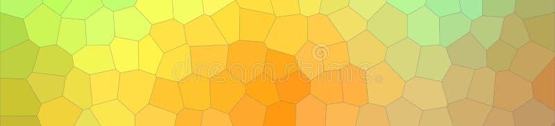 数位引起的绿色橙色蓝色和红色淡色中间大小六角形横幅背景的抽象例证 皇族释放例证