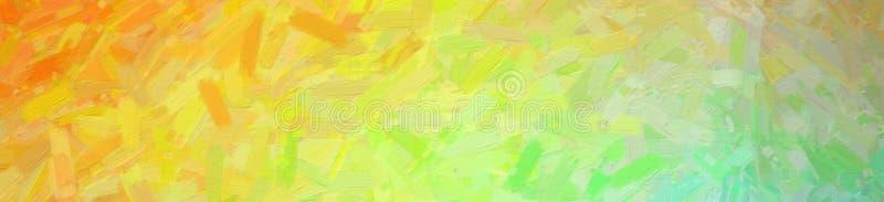 数位引起的蓝绿色橙色抽象油画横幅背景的抽象例证 免版税图库摄影