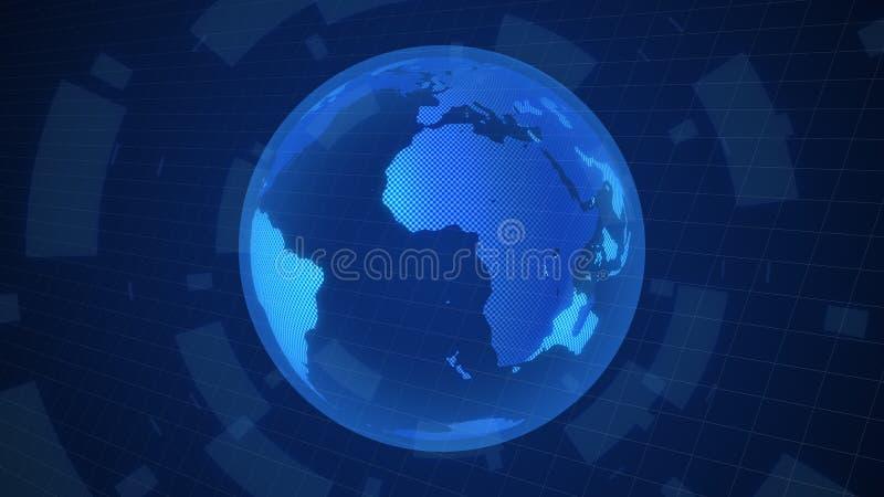 数字世界地图转动动画行动图表全世界概念 向量例证