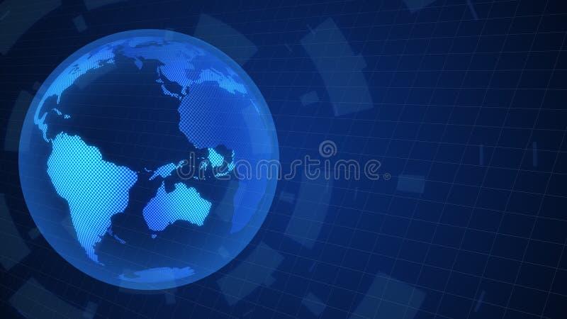 数字世界地图转动动画行动图表全世界概念 皇族释放例证