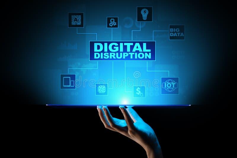 数字中断 制造混乱的企业想法 IOT,网络,聪明的城市,大数据,云彩,逻辑分析方法,网标度IT,AI 库存例证