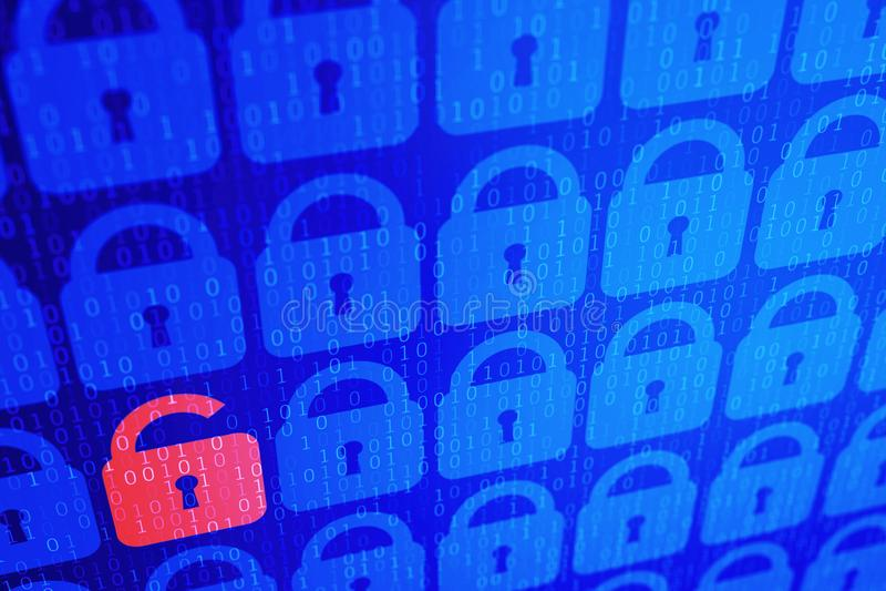 数字互联网数据个人安全概念蓝色背景 安全serfing的万维网网际空间 皇族释放例证