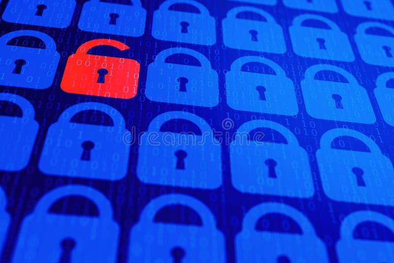 数字互联网数据个人安全概念蓝色背景 安全serfing的万维网网际空间 免版税库存照片