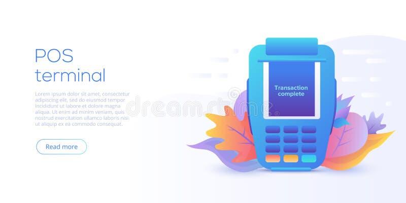数字交易通过POS终端概念 在平的传染媒介设计的网上银行概念 数字付款或网上金钱 皇族释放例证