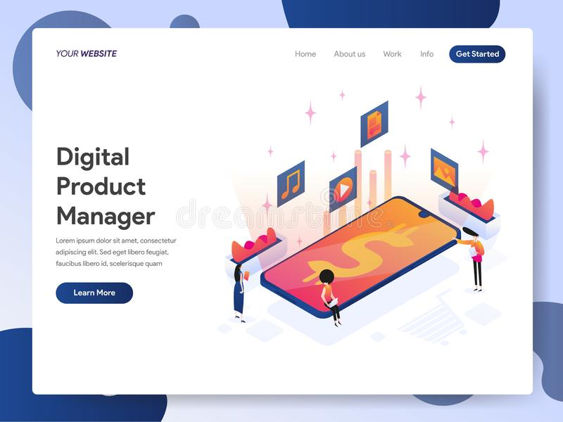 数字产品管理员等量例证概念登陆的页模板  网页设计的现代设计概念为 皇族释放例证