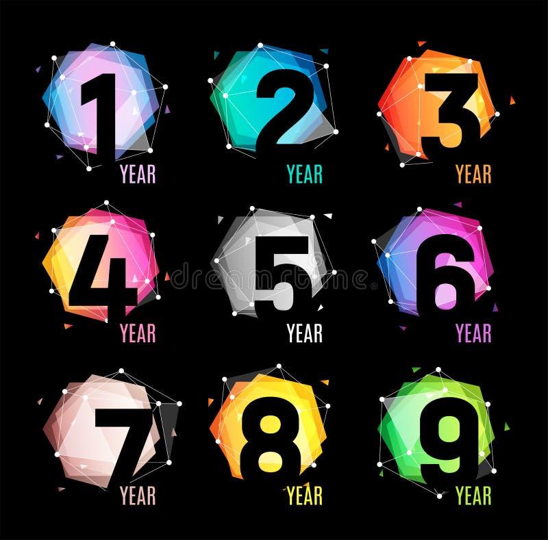 数字以一种几何抽象颜色和宇宙形式从多角形三角和多角形商标在黑背景 向量例证