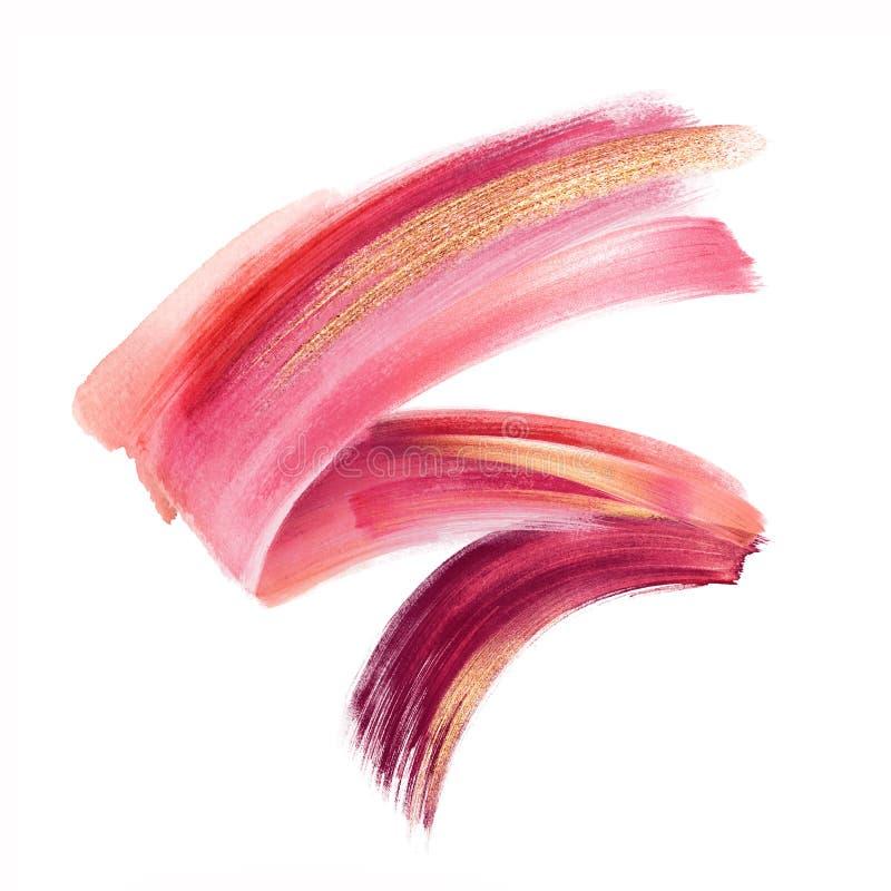 数字例证,红色桃红色金油漆,在白色背景隔绝的刷子冲程,油漆污迹,化妆用品飞溅剪贴美术 免版税库存照片