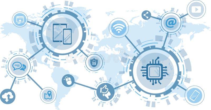 数字化和移动通信概念-传染媒介例证 库存例证
