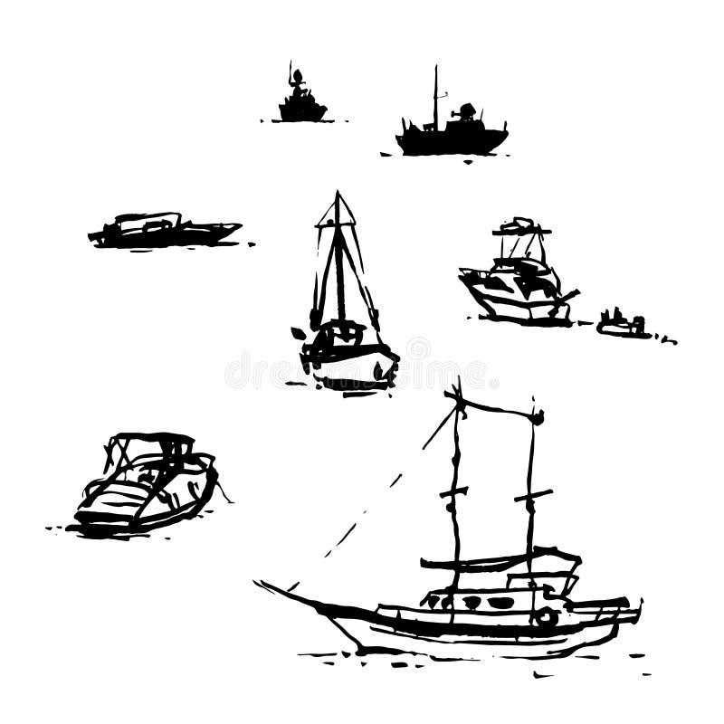 数字化的剪影-在简单的空气的博德鲁姆画的各种各样的小船 Brushpen和墨汁 向量例证