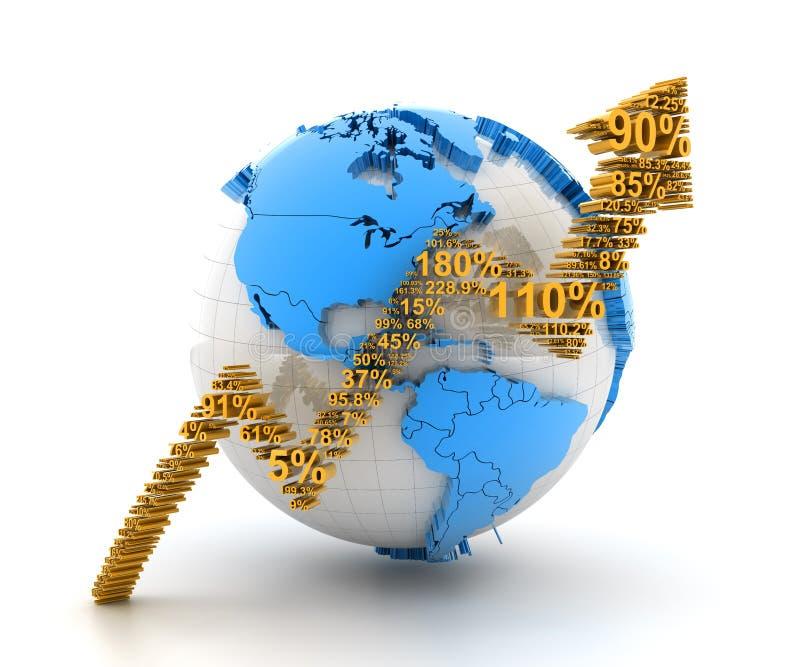 数字和向上箭头形成的地球 向量例证