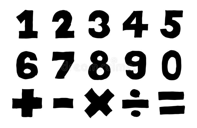 数字和数学标志黑颜色手图画  向量例证